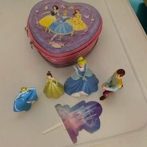 Princess cake toppers & metal zip container